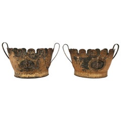 Pair of Early 19th Century American Tole Monteiths, Ideal as Planters