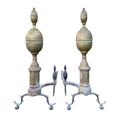 Pair of Early 19th Century Brass Lemon Top Andirons, circa 1820