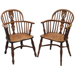 Pair of Early 19th Century Burr Yew Wood and Elm Windsor Armchairs Part Set of 4