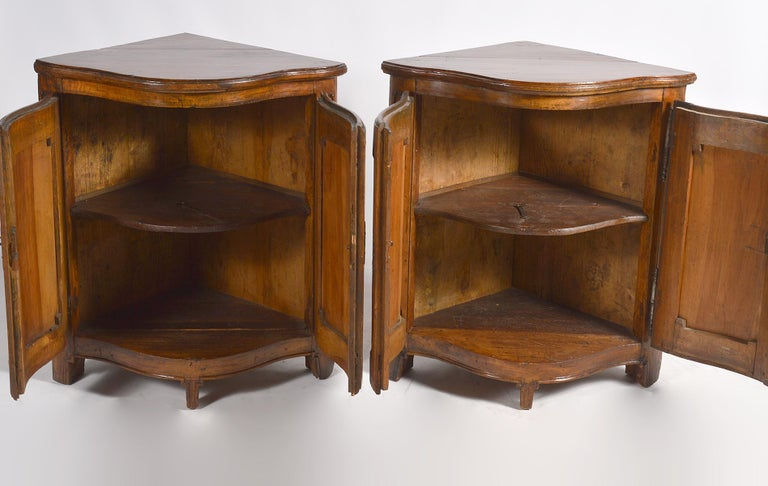 Iron Pair of Early 19th Century Carved French Provincial Serpentine Corner Cabinets