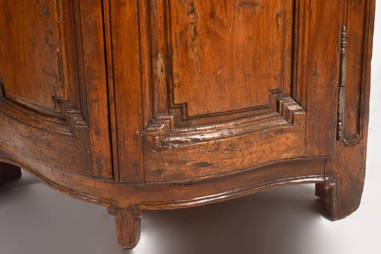 Pair of Early 19th Century Carved French Provincial Serpentine Corner Cabinets 4