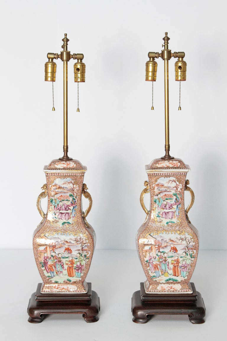 Pair of Early 19th Century Chinese Export Rose Mandarin Porcelain Jars as Lamps For Sale 6