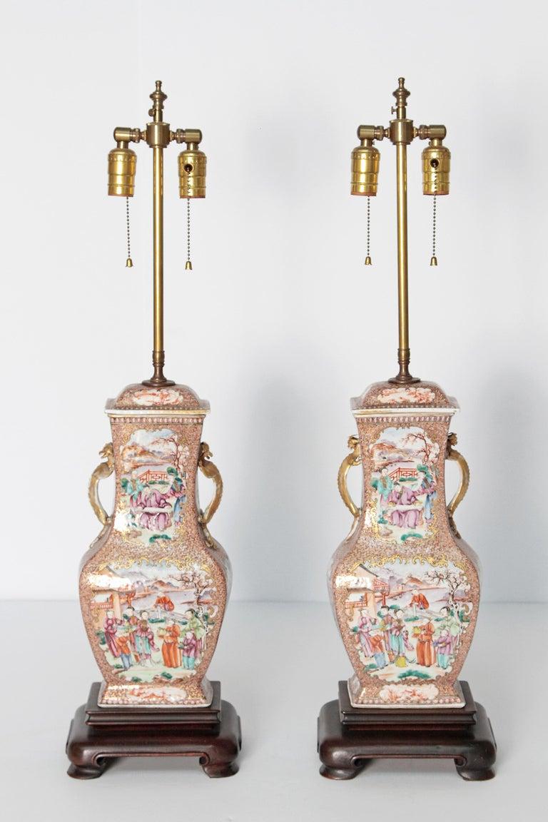 Pair of Early 19th Century Chinese Export Rose Mandarin Porcelain Jars as Lamps 10