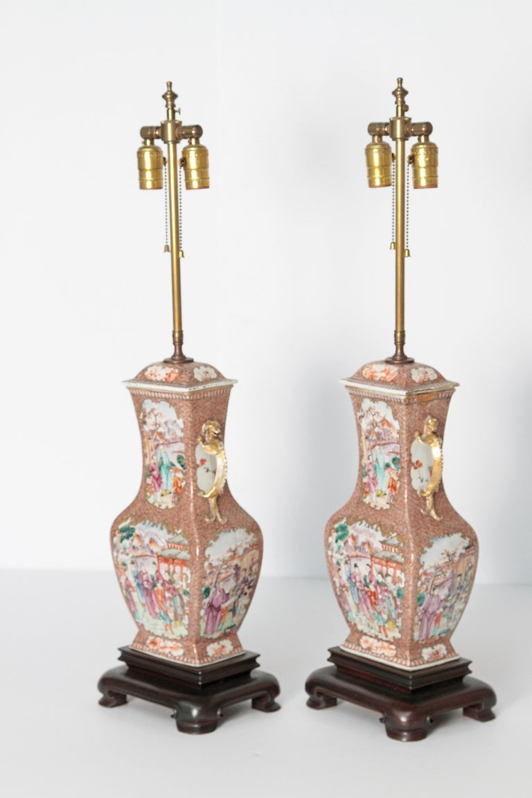 Pair of Early 19th Century Chinese Export Rose Mandarin Porcelain Jars as Lamps For Sale 7