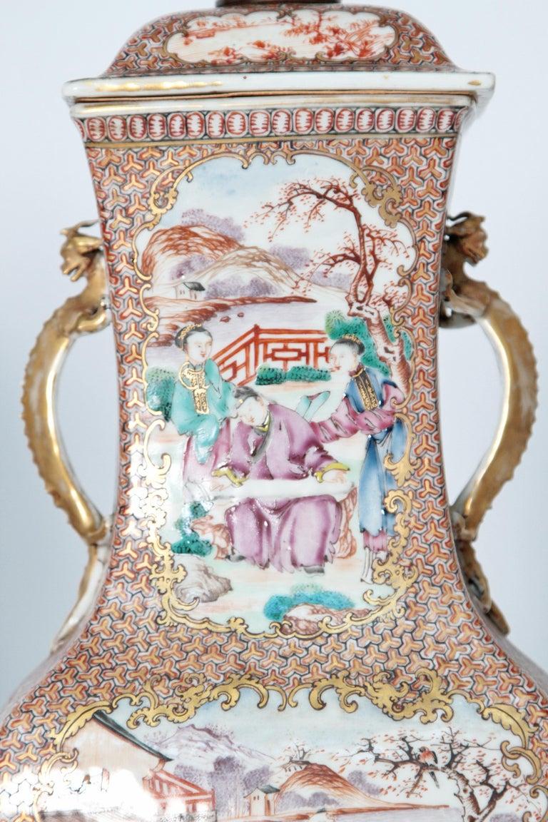 Pair of Early 19th Century Chinese Export Rose Mandarin Porcelain Jars as Lamps 6