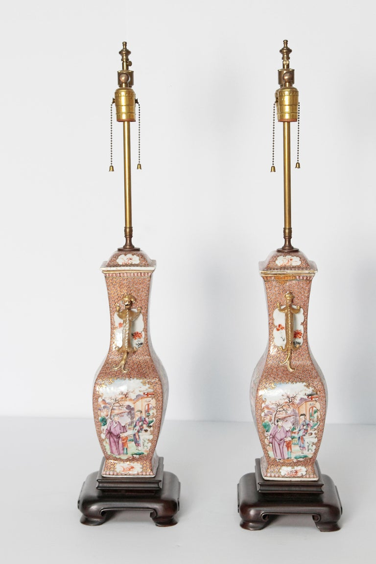 Pair of Early 19th Century Chinese Export Rose Mandarin Porcelain Jars as Lamps For Sale 5