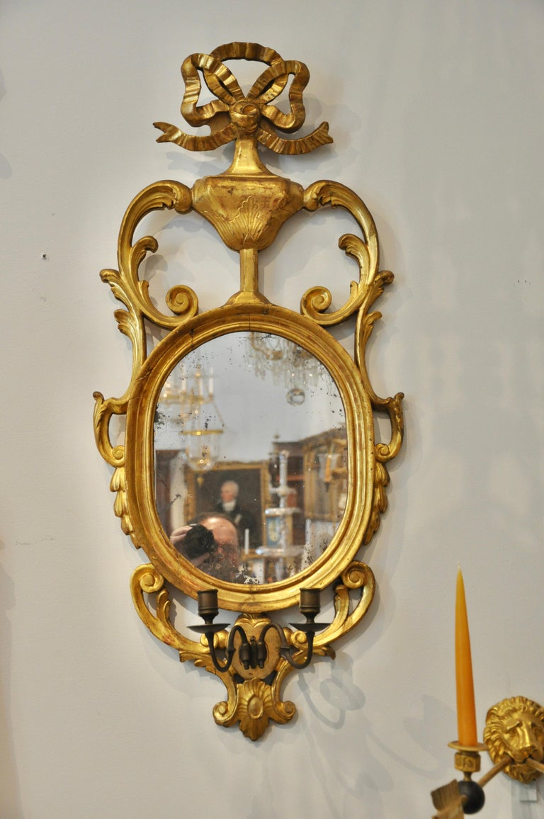 Danish Pair of Early 19th Century Continental Neoclassical Giltwood Sconce Mirrors For Sale