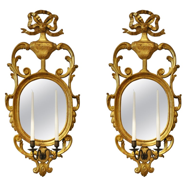 Pair of Early 19th Century Continental Neoclassical Giltwood Sconce Mirrors For Sale