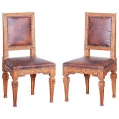 Pair of Early 19th Century Czech Biedermeier Oak Chairs, Czechia, 1800s