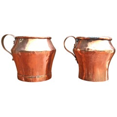 Pair of Early 19th Century English Copper Pitchers