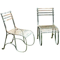Pair of Early 19th Century English Green Painted Iron Garden Side Chairs