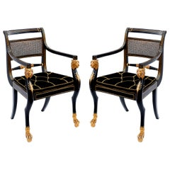 Pair of Early 19th Century English Parcel-Gilt Armchairs Attributed to Gillows