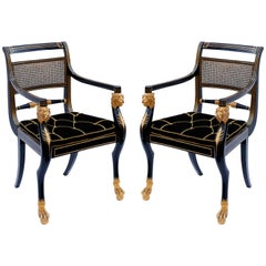 Pair of Early 19th Century English Parcel-Gilt Armchairs by Gillows