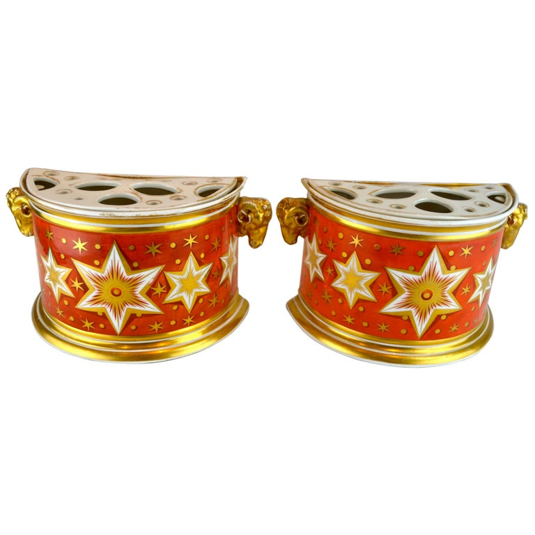 Pair of Early 19th Century English Worcester Orange Ground Gilded Star Bough Pot For Sale