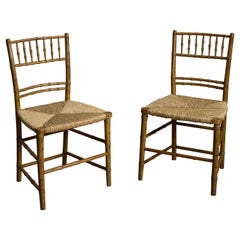 Pair of Early 19th Century Faux Bamboo Bedroom Chairs