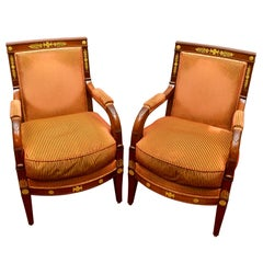 """Pair of Early 19th Century French Empire Mahogany Armchairs """"A La Reine"""""""