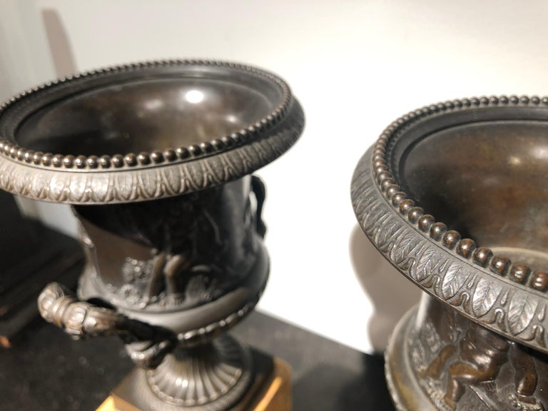 Pair of Early 19th Century French Neoclassical Bronze Urn on Marble Pedestal 5