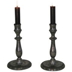 Pair of Early 19th Century French Pewter Candleholders