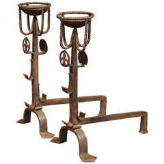 Pair of Early 19th Century French Wrought Iron Andirons with Fleur-de-Lys