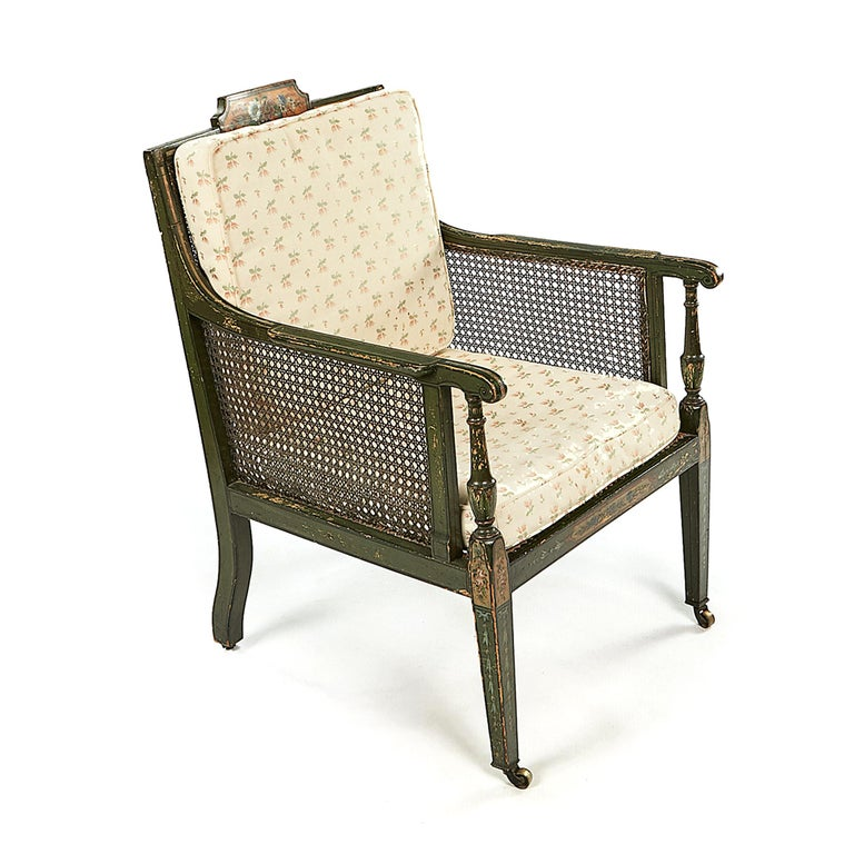 Irish Pair of Early 19th Century George III Green and Polychrome Bergere Armchairs For Sale