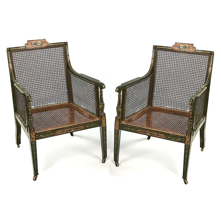 Hand-Painted Pair of Early 19th Century George III Green and Polychrome Bergere Armchairs For Sale
