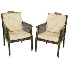 Pair of Early 19th Century George III Green and Polychrome Bergere Armchairs