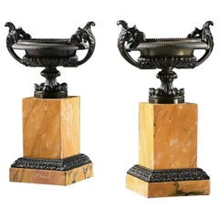 Pair of Early 19th Century Grand Tour Bronze and Sienna Marble Tazzas