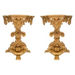 Pair of Early 19th Century Italian Baroque Freestanding 'D' Shaped Consoles