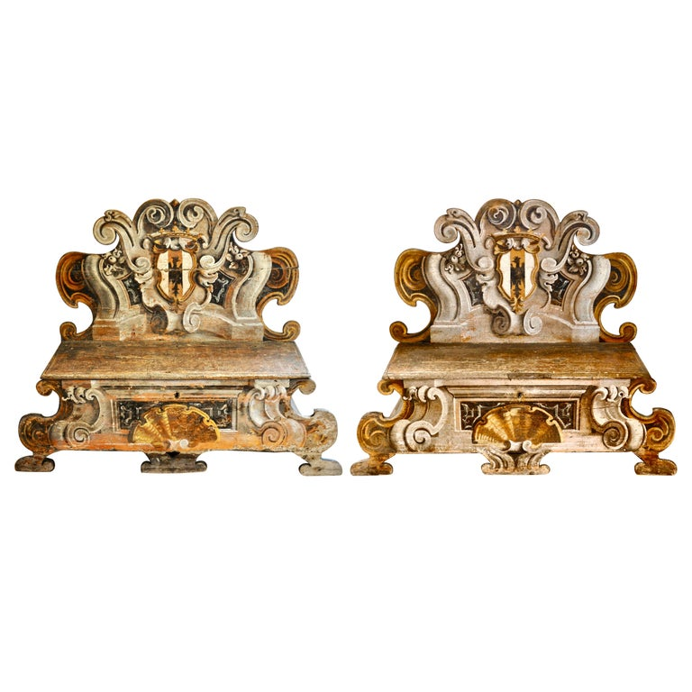Pair of Early 19th Century Italian Baroque Style Painted Cassapanca Benches