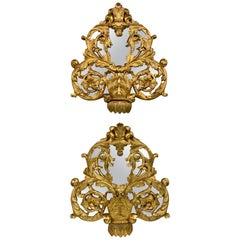 Pair of Early 19th Century Italian Carved and Giltwood Mirrors