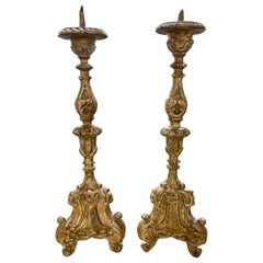 Pair of Early 19th Century Italian Carved Giltwood Altar Prickets