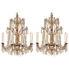 Pair of Early 19th Century Italian Crystal and Colored Glass Chandeliers