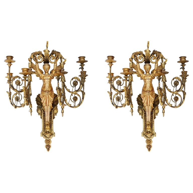 Pair of Italian neoclassical six-light sconces, 1815