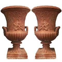 Pair of Early 19th Century Italian Neoclassical Medici Style Terracotta Urns