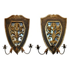 Pair of Early 19th Century Italian Neoclassical Mirrored Sconces