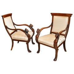 Pair of Early 19th Century Italian Walnut Neoclassical Armchairs of Large Scale
