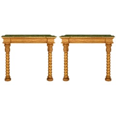 Pair of Early 19th Century Louis XIII Style Giltwood Consoles