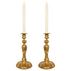 Pair of Early 19th Century Louis XVI Style Ormolu Candlesticks