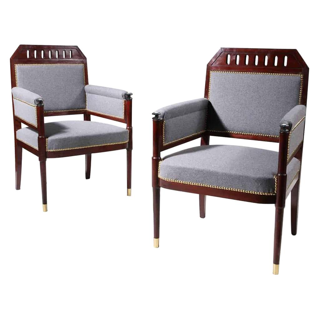 Pair of Early 19th Century Mahogany Bergères Armchairs