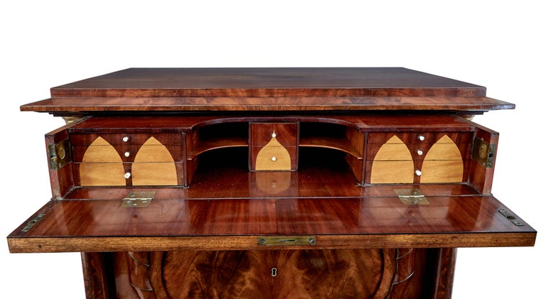 Pair of Early 19th Century Mahogany Biedermeier Secretaire Commodes For Sale 5