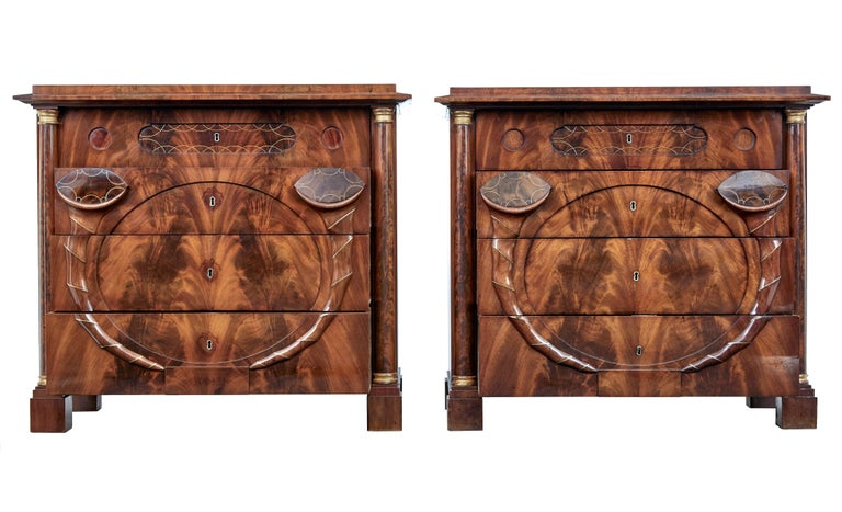 Swedish Pair of Early 19th Century Mahogany Biedermeier Secretaire Commodes For Sale