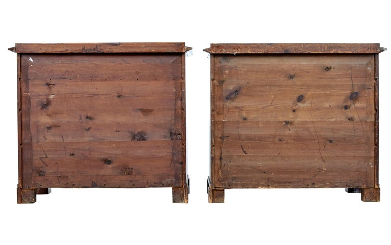 Pair of Early 19th Century Mahogany Biedermeier Secretaire Commodes In Good Condition For Sale In Debenham, Suffolk