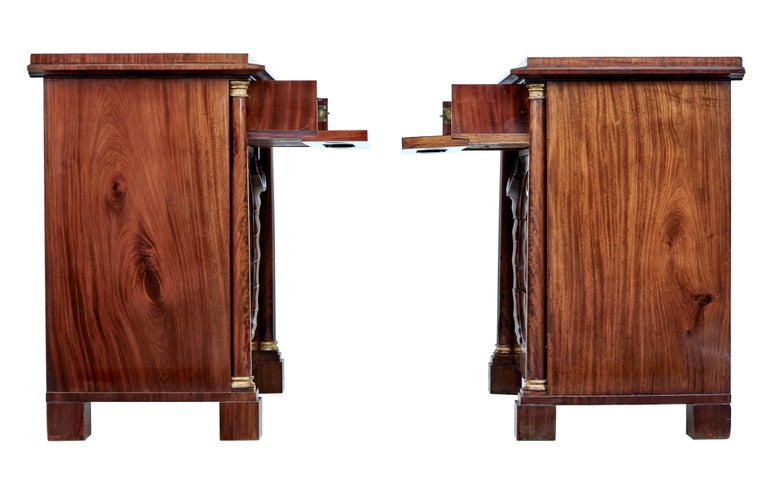 Pair of Early 19th Century Mahogany Biedermeier Secretaire Commodes For Sale 1