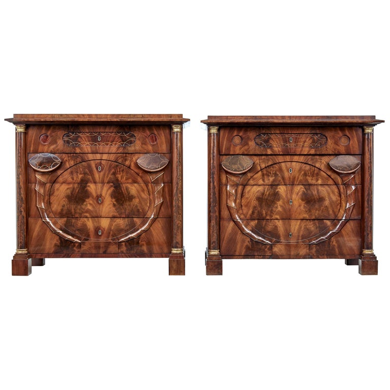 Pair of Early 19th Century Mahogany Biedermeier Secretaire Commodes For Sale