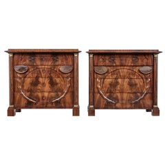 Pair of Early 19th Century Mahogany Biedermeier Secretaire Commodes