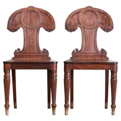Pair of Early 19th Century Mahogany Hall Chairs
