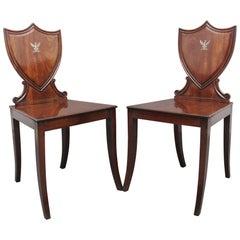 Pair of Early 19th Century Mahogany Hall Chairs