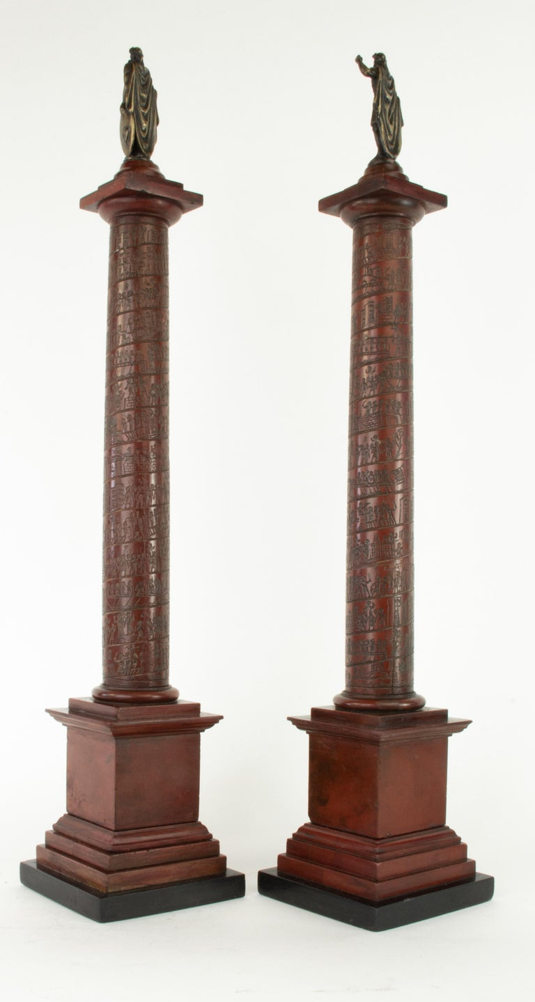 Grand Tour Pair of Early 19th Century Marble Models, Trajan's and Marcus Aurelius Columns For Sale