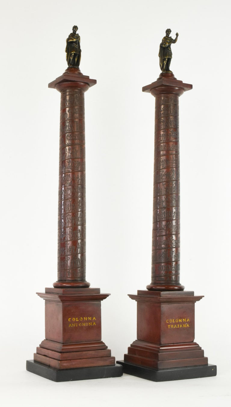 Italian Pair of Early 19th Century Marble Models, Trajan's and Marcus Aurelius Columns For Sale