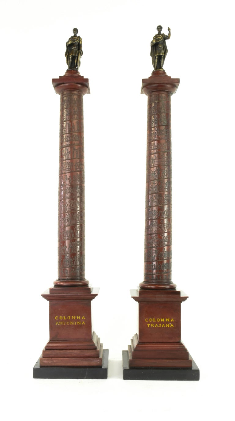 Carved Pair of Early 19th Century Marble Models, Trajan's and Marcus Aurelius Columns For Sale